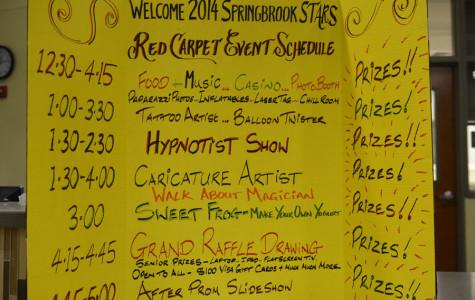 A poster board displaying all the fun activities available at after prom.