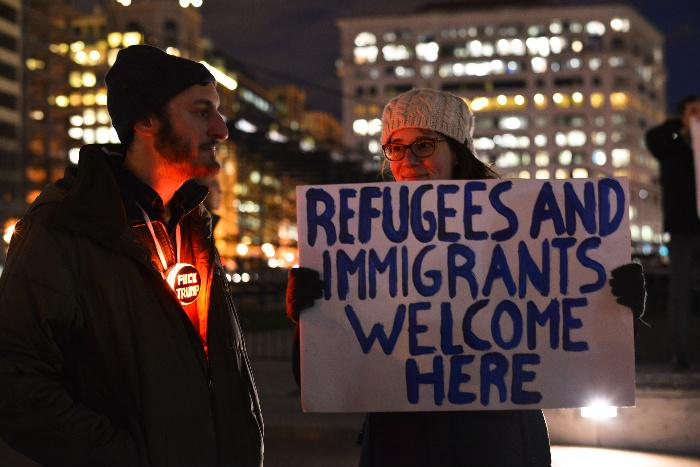 In+January%2C+protesters+Washington+D.C.+spoke+out+against+Trump%27s+executive+order+to+suspend+entry+to+the+U.S.+from+majority+Muslim+countries.