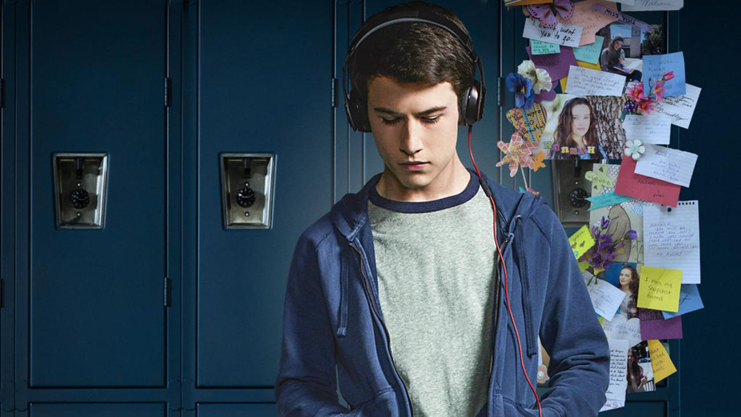 Dylan Minnette, who plays Clay, in 13 Reasons Why, listens to the recording tapes of his close friend Hannah Baker that committed suicide.