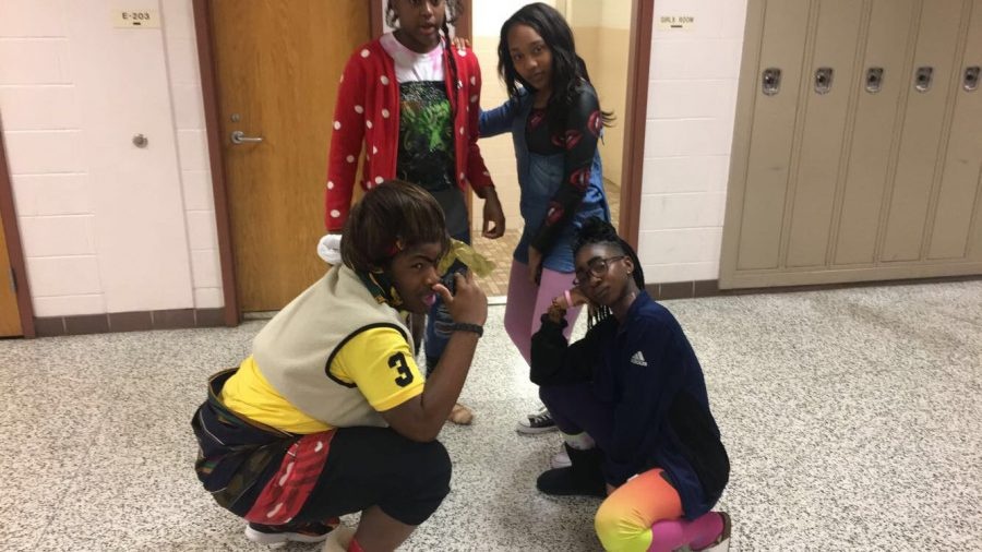 Wacky+Tacky+Day+-+Margeau+Pitters%2C+Fatima+Diaby%2C+Solomon+Agbossou%2C+and+Ines+Assie+pose+in+their+wacky+outfits.%0A