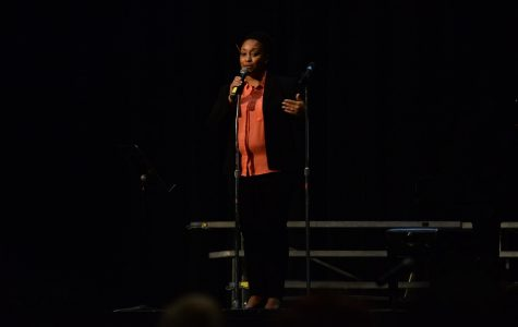 Ms. Hairston speaks at last year's winter concert.