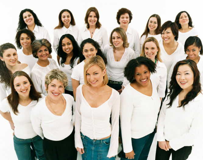 Studio+Portrait+of+a+Mixed+Age%2C+Multiethnic%2C+Large+Group+of+Happy+Women+Wearing+White+Tops