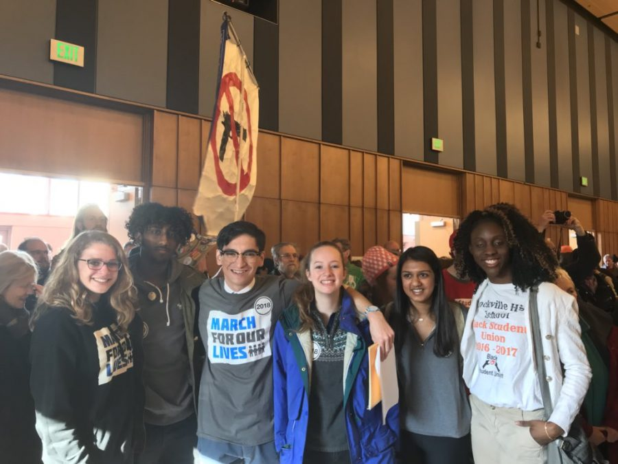 Debesai and other Montgomery County student activists at a March For Our Lives pre-rally hosted by Congressman Jamie Raskin on March 24th.