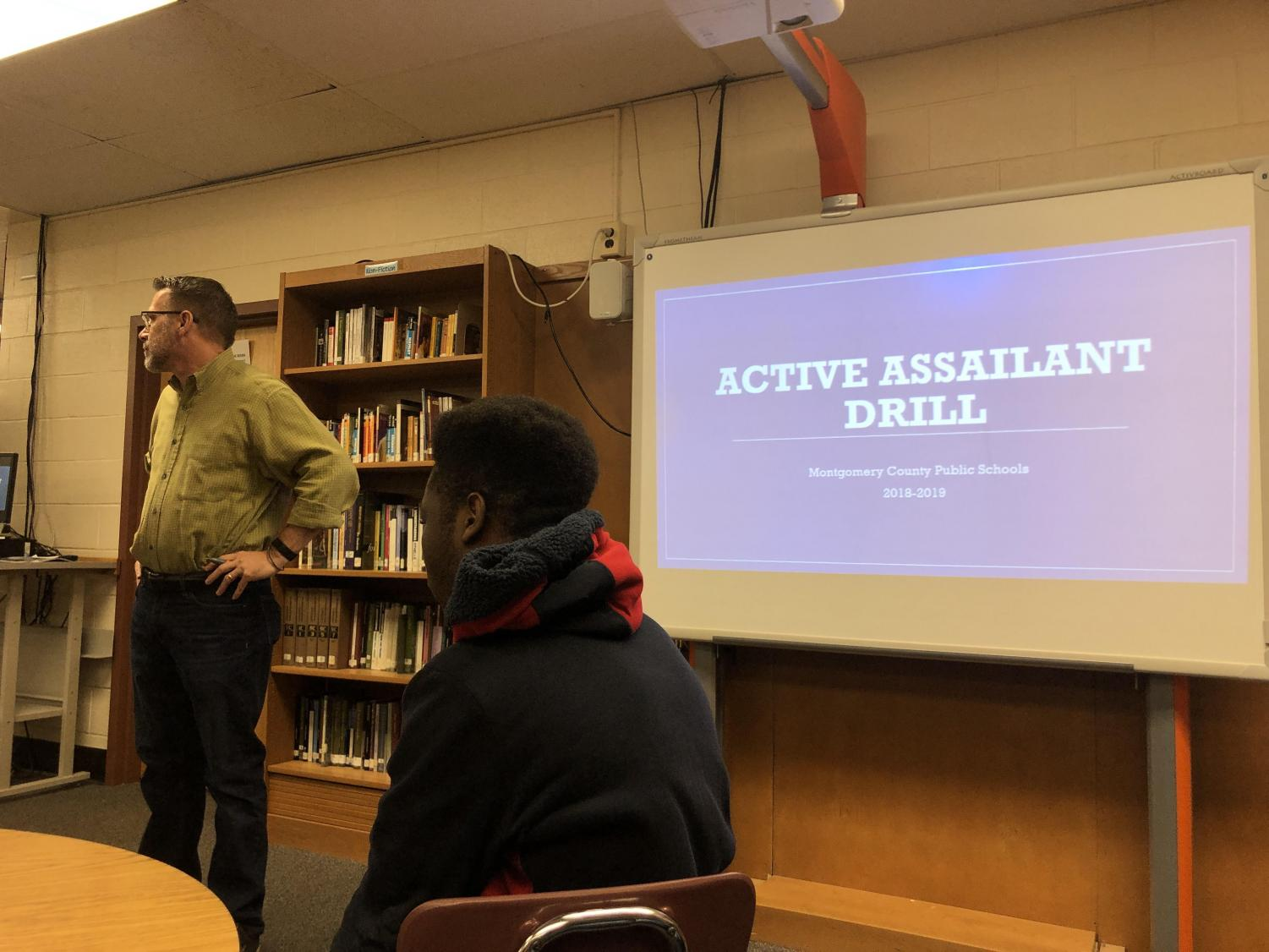 Mr. Weinshel facilitates the active assailant training with his advisory students.