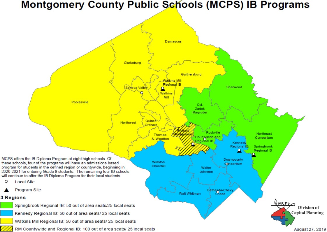 A map of the intake areas for the magnets shared at the BOE's September 10 meeting. (Courtesy MCPS)
