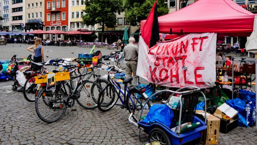 The remnants of a Fridays for Future sit-in in Cologne, Germany, demanding a resolution declaring a climate emergency in the city.