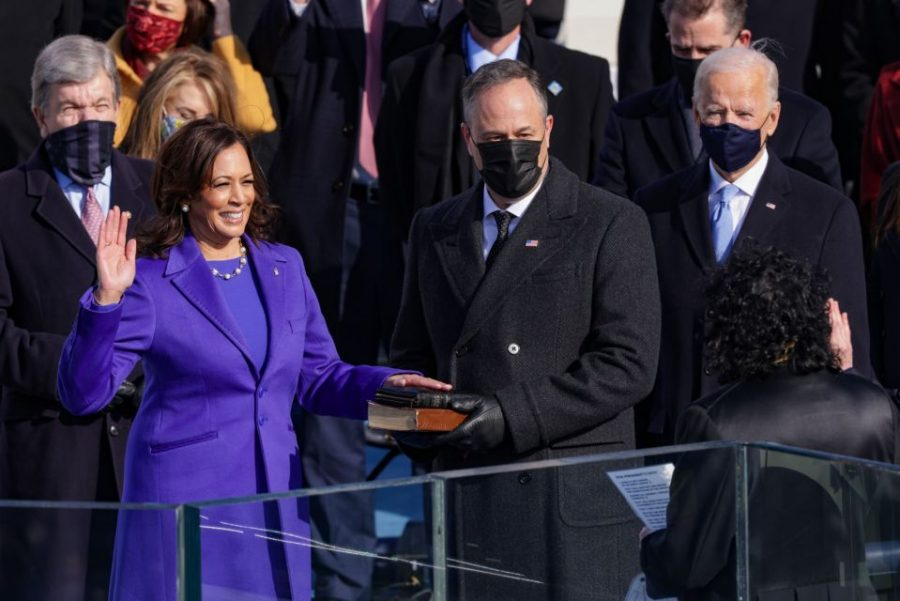 Kamala Harris is sworn as U.S. Vice President on January 20, 2021 in Washington, DC. (Photo by Alex Wong/Getty Images)