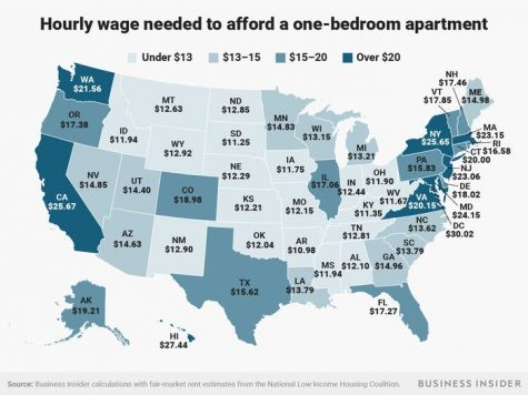 The graphic portrays the hourly pay needed to afford a one-bedroom rental in each state. (Photo by Andy Kiersz/Business Insider)